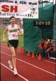 Jeff Falberg finishing the 1998 New Jersey Shore Marathon